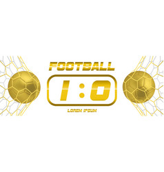 gold soccer or golden football white banner with vector image vector image