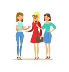 Happy Three Girls Best Friends Talking Part Of vector image