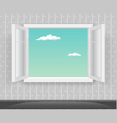open glass window frame cartoon home interior vector image