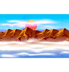 peaks in the haze and clouds vector image vector image