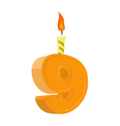 9 years birthday number with festive candle for vector image