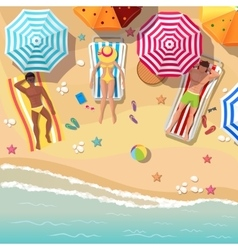 Beach top view background with sunbathers men and vector image vector image