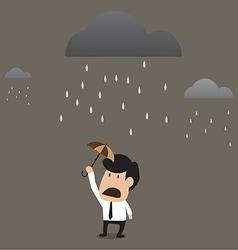 Businessman under a little umbrella in the rain vector image vector image