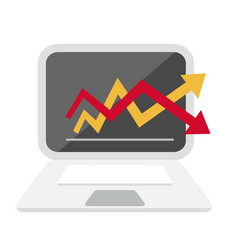 computer and graph chart icon vector image