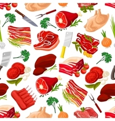 Seamless pattern background of meat products vector