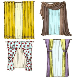set of curtains interior details Cartoon style vector image vector image