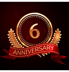 Six years anniversary celebration with golden ring vector image