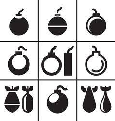 Bombs and rockets icons set vector image vector image