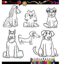 Cartoon Dog Breeds Coloring Page vector image