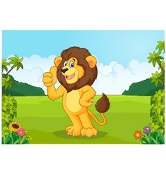 Cartoon lion giving thumb up vector