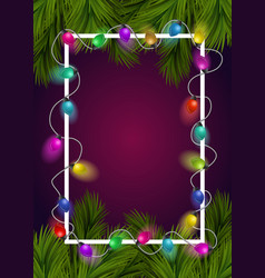 christmas frame with tree branches and garland vector image