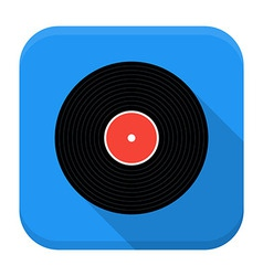 Music vinyl record flat app icon with long shadow vector image vector image