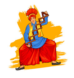 sikh punjabi sardar doing bhangra dance on holiday vector image