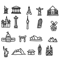 travel landmarks icon set sketch vector image