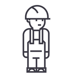 worker engineer line icon sign vector image