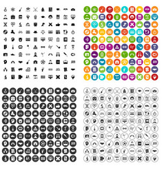 100 student icons set variant vector