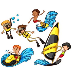 A group of people enjoying the watersport vector image