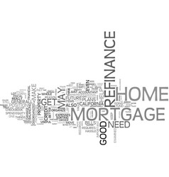 A sunny california refinance home mortgage text vector
