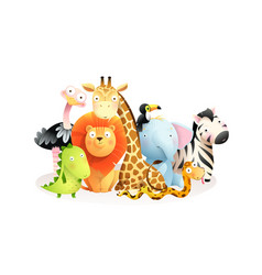 African exotic safari animals for kids isolated vector