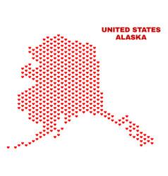 alaska map - mosaic of heart hearts vector image