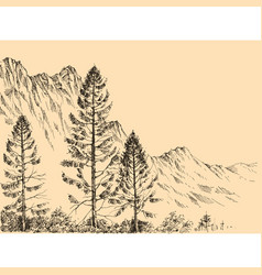 Alpine landscape drawing vector