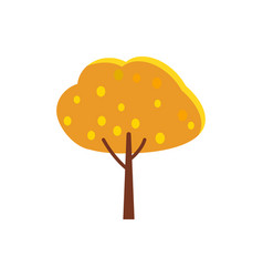 autumn tree with orange crown and yellow leaves vector image