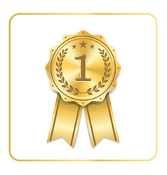 award ribbon gold icon blank medal with laurel vector image