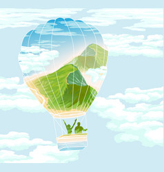 balloon with travelers and summer landscape vector image