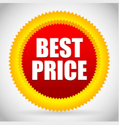 Bright best price badge in red and orange vector