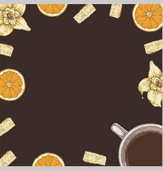 Brown card or menu template with coffee and fruits vector