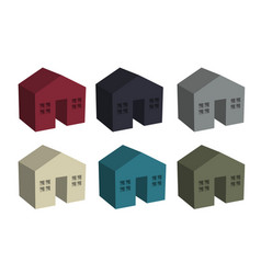 building houses icon in 3d vector image