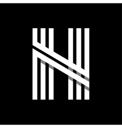 Capital letter N Made of three white stripes vector image