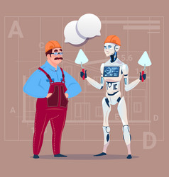 cartoon builder working with robot holding spatula vector image