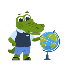 cartoon crocodile with globe alligator in clothes vector image