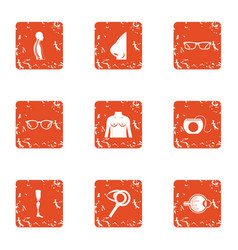 Checkup icons set grunge style vector