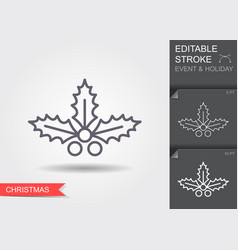 christmas holly berry leaves line icon with vector image