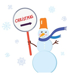Christmas snowman with sign for holiday vector image