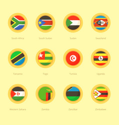 circular flags of south africa south sudan vector image