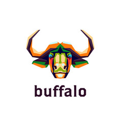 Colorful buffalo head for logo vector