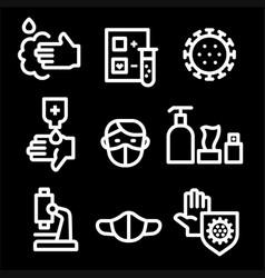 coronavirus protection icon set vector image