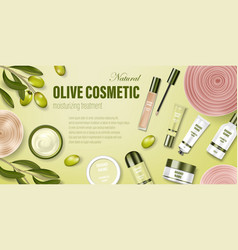 cosmetic poster ad realistic glass jar with green vector image