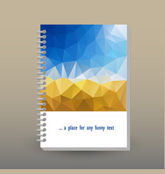 Cover of diary or notebook blue sky polygonal vector