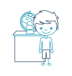 cute boy with planet earth character icon vector image