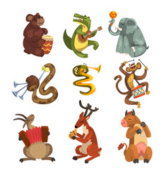 Cute cartoon animal characters playing various vector