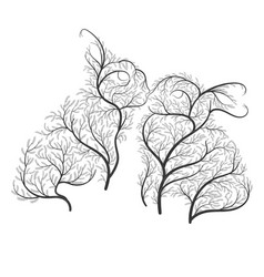 Cute kissing rabbits stylized bushes on a white vector