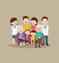 Doctor and happy bigfamily sitting on sofa vector