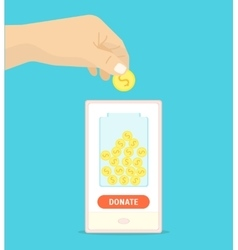 Donation Gold Coin in a Box Concept vector