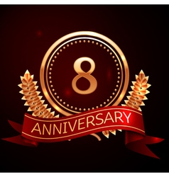 Eight years anniversary celebration with golden vector