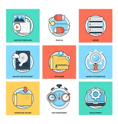 Flat Color Line Design Concepts Icons 20 vector
