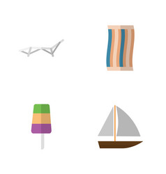 Flat season set of sundae yacht wiper and other vector